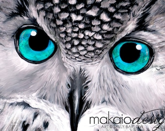"Owl Painting ""Aqua"" Black and White with Pop of Color Mixed Media Canvas Print"