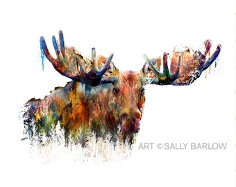 Moose Painting Mixed Media Watercolor Double Exposure Landscape Art Print or Gallery Canvas