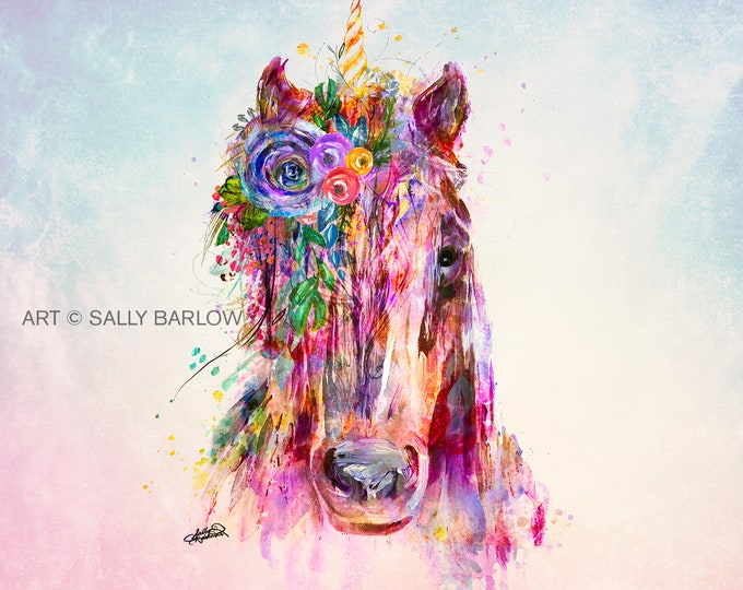 Featured listing image: Beautiful Unicorn Painting Mixed Media Canvas Gallery Wrap