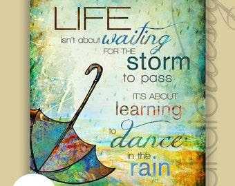 "Whimsical ""Dance In The Rain"" Umbrella Illustration"