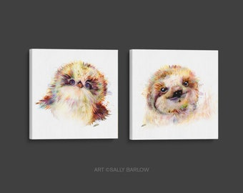 Adorable Baby Owlet & Sloth Painting Mixed Media Canvas Gallery Wrap Set