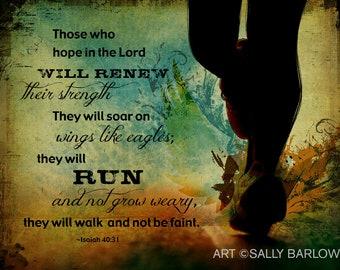 RUN Inspired Isaiah Bible Verse, Scripture Christian Art Canvas Gallery Wrap