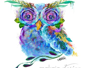 Garden of the Wild Owl Mixed Media Wall Decor Art Canvas Gallery Wrap