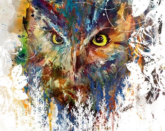 Great Horned Owl Painting Mixed Media Watercolor Double Exposure Landscape Art Print or Gallery Canvas