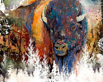 Watercolor Buffalo, Mixed Media, Buffalo Landscape Art Canvas Gallery Wrap