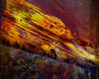 Colorado Red Rocks Amphitheatre Mixed Media Canvas Aluminum Metal Fine Art Print