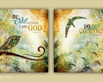 Contemporary Christian Art Scripture SET Canvas Gallery Wraps