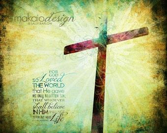 John 3:16 Cross Art Christian Art Gallery Wrapped Canvas