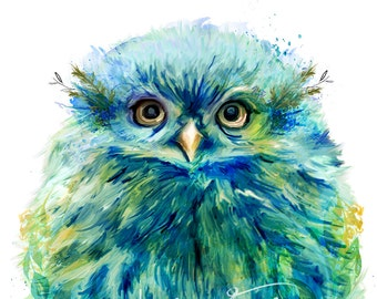 "Adorable Owl Painting ""Fiji"" Mixed Media Wall Decor Art Canvas Gallery Wrap"
