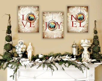 Nativity Wall Art, Christian Christmas Art Set of 3 Unique Christmas Art Illustrations on Canvas