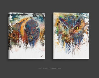 Buffalo/Bison & Owl Painting Set Mixed Media Watercolor Double Exposure Landscape Art Print or Gallery  Canvas