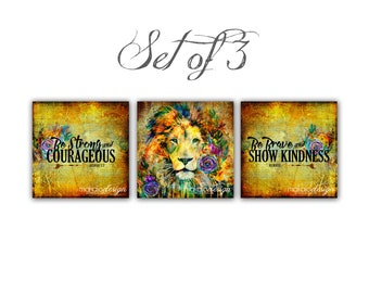 Set of 3 Lion Art Word Art Inspirational Scirpture Gallery Wrapped Canvases
