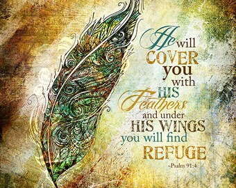 He is my Refuge Feather Art, Bible Verse Scripture Art, Gallery Canvas Wrap