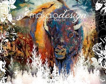 Mixed Media Buffalo Bison Painting  (Square) Watercolor Mixed Media Print