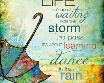 "Whimsical ""Dance In The Rain"" Mixed Media Painting/Illustration Canvas or Print"