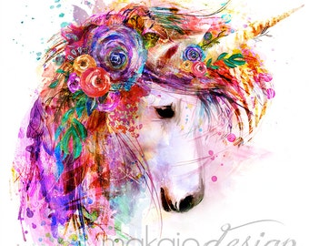 Garden of the Wild Unicorn ~ White Background