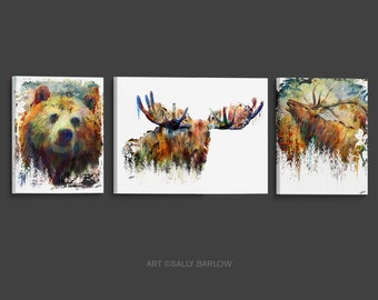 Bear Moose Elk Painting Set Mixed Media Watercolor Double Exposure Landscape Art Print or Gallery  Canvas