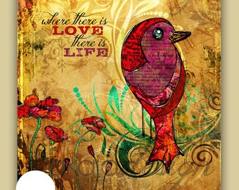 "Bird Art, Scripture Art, ""Where there is Love, There is Life"" Illustration Mixed Media Canvas Gallery Wrap"