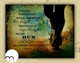 RUN Inspired Isaiah Bible Verse, Scripture Christian Art Canvas Gallery Wrap