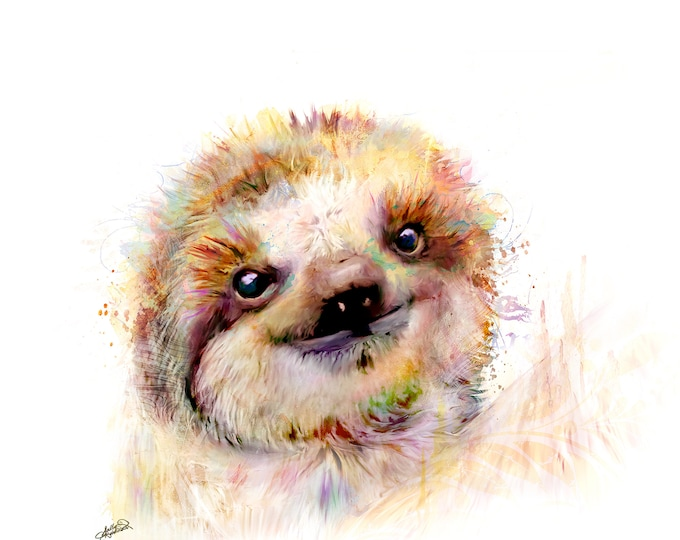 Featured listing image: Adorable Baby Sloth Painting Mixed Media Canvas Gallery Wrap