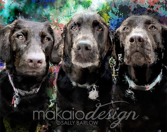 Custom Pet Portrait for Multiple Pets with background ~ MADE TO ORDER Dog Portrait ~ Unique Contemporary Art