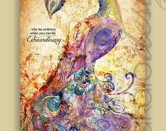 "Mixed Media ""Be Extraordinary"" Peacock Canvas Gallery Wrap"