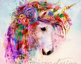 Garden of the Wild Unicorn with watercolor background
