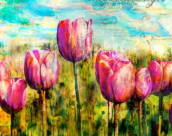 Square Tulip Art *BRIGHT & BEAUTIFUL* Wall Decor Canvas Prints