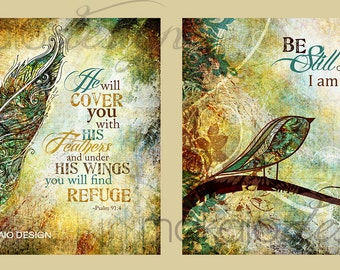 Christian Art, Scripture Art, Illustrated Mixed Media Art on Canvas