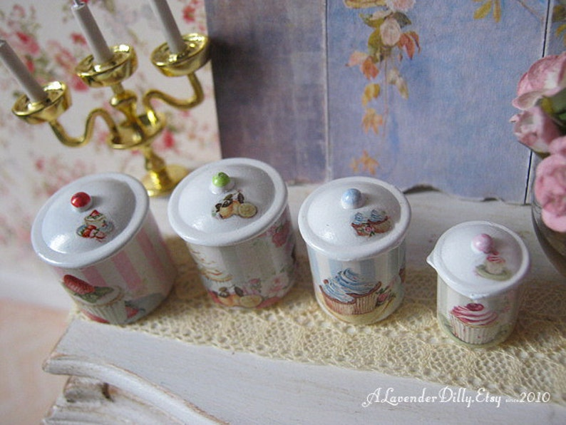 cupcake canisters for kitchen shabby cupcake kitchen canisters for dollhouse 1 12 scale etsy 9357