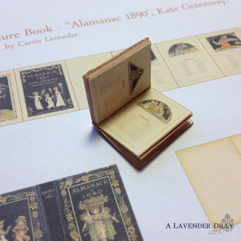 PDF Kate Greenaway 1890 Almanac Miniature Book for Dollhouse 1/12 Scale  DIGITAL DOWNLOAD