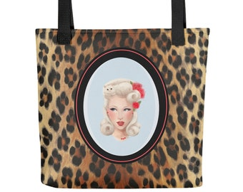 d48e7acd7c41 Leopard print Pin up Girl Tote Bag.Holly.Casual everyday bag. Rockabilly  style.Animal Print.