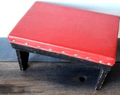 Industrial Stool Table, Red Brass Rivet Top Black Painted, Rustic Mid Modern Decor Display