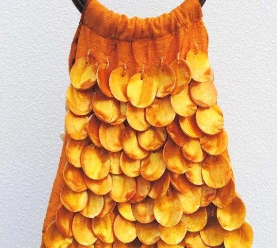 Vintage Purse Bag, Mod Orange Seashell Beaded Wood