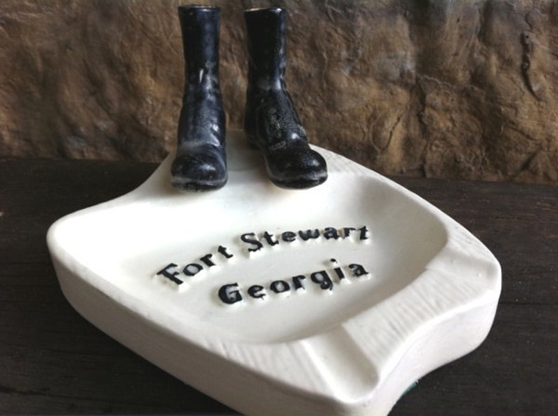 1960s Vintage Military Ashtray Ft Stewart Georgia Signed /& Dated from Son to Dad Fathers Day Gift Man Cave