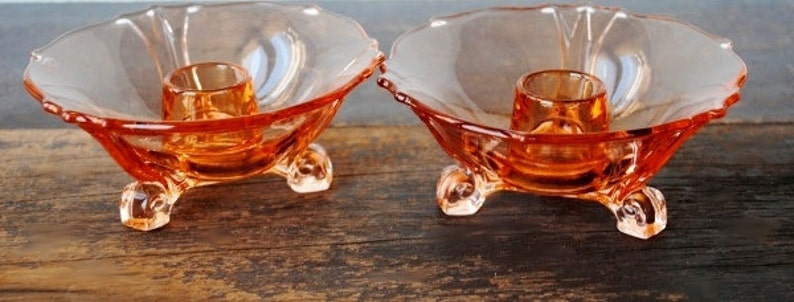 Curled Scroll Foot Pair Rare Liberty Works Depression Glass Pink Three Toed Candlesticks Holders 1930s