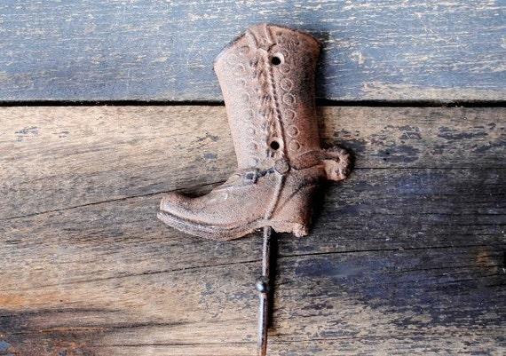 Rustic Western Cowboy Boot Cast Iron Wall Hat Coat Hook~Western Decor