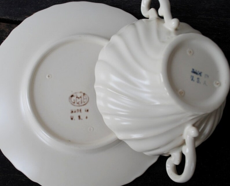 Franciscan Coronado Cream Soup Bowl /& Saucer Set 1930s Gladding McBean Antique China Dinnerware