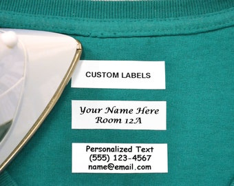 100 Pre-Cut Iron On Personalized Clothing Name Labels / Tags for Nursing Homes, Camp, College, Day Care, Uniforms and Crafts w/ Font Choice