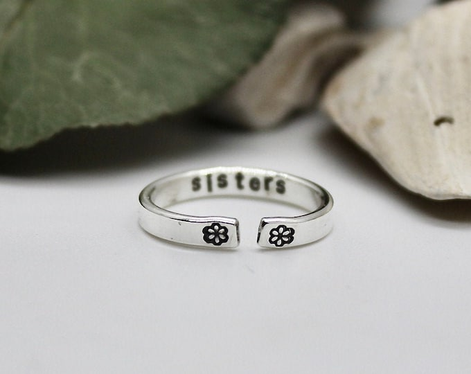 Sisters Ring, Solid Sterling Silver Adjustable Sister Ring, Thin Sister Ring, Ring for Sister, Sister Ring with Flowers, Sisters are Forever