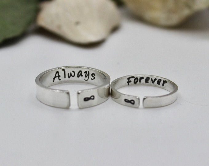 Always Forever Couples Rings, Rings for Couples, Infinity Rings, Solid Sterling Silver, Boyfriend Girlfriend Rings, Two Couples Rings