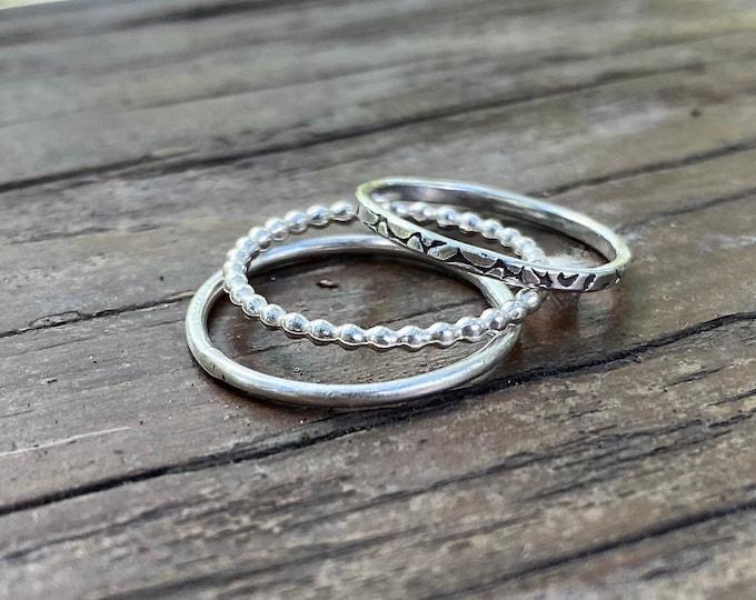 Sterling Stacking Ring Set