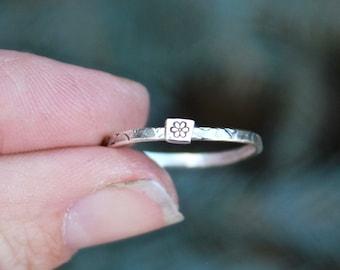 5e411ab1f Daisy Ring, Tiny Daisy Flower Ring, Initial Rings, Stackable Flower Ring,  Stackable Initial Rings, Tiny Daisy, Sterling Silver Daisy Ring