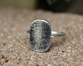 Oval Fingerprint Ring, Sterling Silver Band, Image of a Fingerprint, Ring Oval Fingerprint, Sterling Silver Fingerprint Ring, Memorial Ring
