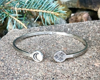 Love you to the Moon and the Stars Bangle Cuff, Sterling Silver Cuff