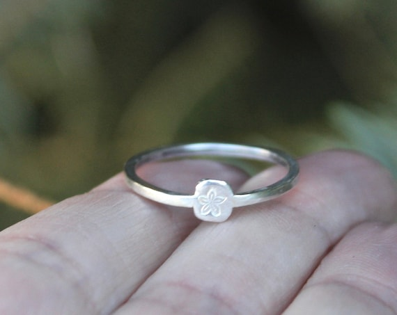 Sterling Silver Flower Ring, Customize to change the symbol, or choose an initial or number