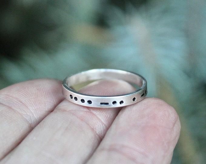 Morse Code in Sterling Silver, You Customize up to 20 Dots & Dashes Ring, Secret Message in Morse Code, Unisex Adult Ring