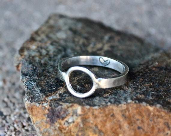 Sterling Silver Heart within a Circle Ring