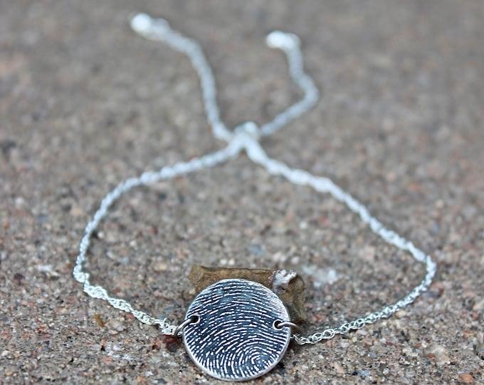 Fingerprint Bracelet, Adjustable Fingerprint Bracelet, Sterling silver chain, Fingerprint Slider Bracelet, Sterling Silver Fingerprint Charm