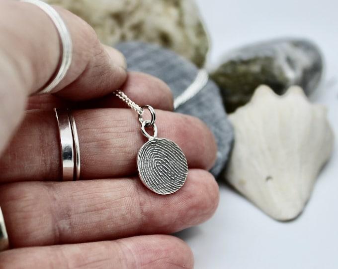Fingerprint Necklace with Bail, Fingerprint Jewelry, Sterling Silver Charm, Fingerprint Pendant, Memorial Jewelry, Fingerprint Charm Bail